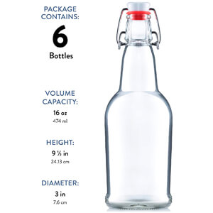 16 Ounce (6 Pack) Grolsch Bottles, with Flip-top Airtight Lid, for Carbonated Drinks
