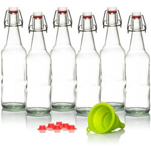 Bottles for Kombucha, Beer, Kiefer - 16 oz. - Grolsch Style Bottle (6 Set) with Funnel