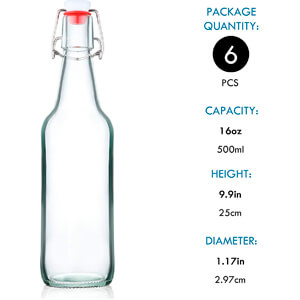 Bottles for Home Brewing with Easy Wire Swing Cap & Airtight Silicone Seal 16 oz
