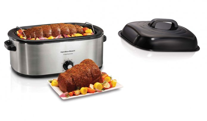 28 lb 22-Quart Roaster Oven with Self-Basting Lid (Stainless Steel)