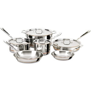 Copper Core 5-Ply Bonded Dishwasher Safe Cookware Set, 10-Piece, Silver