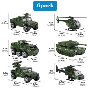 6 Pack Alloy Metal Army Toys Model Cars Playset Tank, Panzer, Attack Helicopter, Anti-air Vehicle, Scout Helicopter...