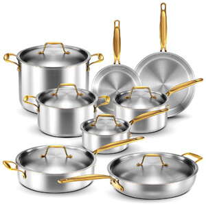 Professional Home Chef Grade Clad Pots and Pans Sets