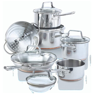Copper Core Cookware Set, Kitchen Pots and Pans Set with Covered Steamer