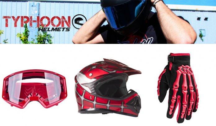 Helmet Gloves Goggles DOT Motocross ATV Dirt Bike MX Spiderman Red, Medium