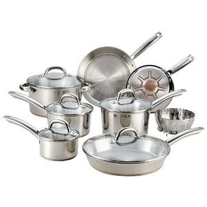 Ultimate Stainless Steel Copper Bottom 13 PC Cookware Set