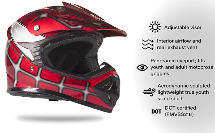 Typhoon KYB07 GT Youth Off Road Helmet Features