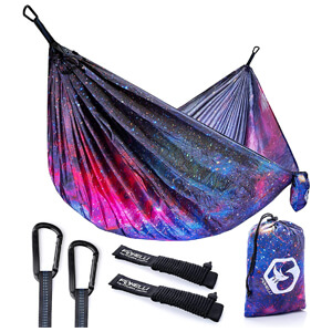Lightweight Parachute Nylon Portable Hammock with Tree Ropes and Carabiners
